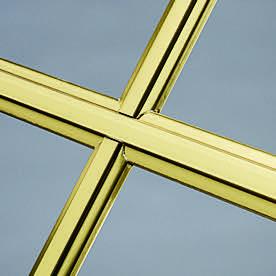grid style sculptured brass